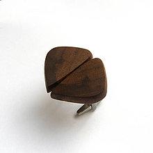 Šperky - Drevené manžetové gombíky - orechové kúsky (nerez) - 11426159_