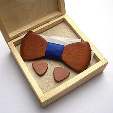 Šperky - Drevená sada - slivkový motýlik a manžetky v kazete - 11426644_