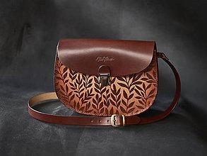 Kabelky - kožená kabelka PANACEA Nr.1, vzor Bylinky, vintage hnedá - 11427461_