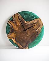 Hodiny - Živicové hodiny z teakového dreva Smaragd - 11428559_