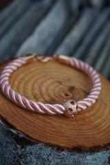 Náramky - Ružový náramok z točenej šnúry - 11428484_