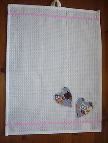 Textil - Uteráčik šedé srdiečka - 11428108_