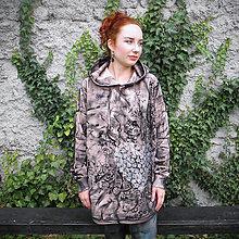 Mikiny - Oversize malovaná mikina - růžová - 11427617_