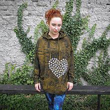 Mikiny - Oversize malovaná mikina - khaki - 11427706_