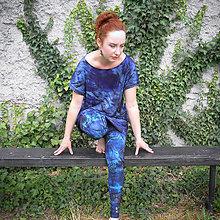 Nohavice - Bavlněné malované legíny s tlapkami / modré - 11427817_