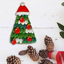 Magnetky - Vianočný stromček - FIMO magnetka (Santa čiapka a vianočné gule) - 11430084_