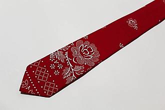 """Doplnky - pánska kravata """"modrotlač"""" červená - 11430249_"""