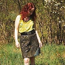Sukne - L'anová sukňa tisk/malba khaki S-M - 11430636_
