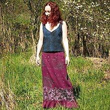 Sukne - Maxi sukňa l'anová, vínová s volánkem S-M - 11430734_