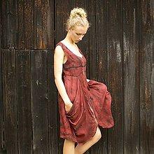 Šaty - L'anové šaty cihlové  S-M - 11430858_