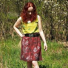 Sukne - L'anová sukňa tisk/malba cihlová S-M - 11430958_
