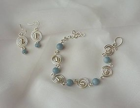 Sady šperkov - Náramok s náušnicami - angelit - 11433815_