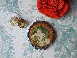 Zrkadielka - Zlatá secesia III. (zrkadielko + náušničky) - 11433300_