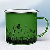 Nádoby - Zelený smaltovaný hrnček - 11431950_