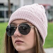 Čiapky - Ružová pletená čiapka - 100% alpaka - 11432455_