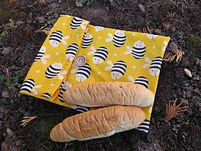 Úžitkový textil - desiatové voskované vrecko-včielka - 11433032_