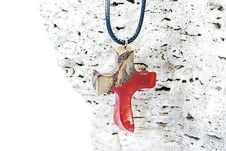 Náhrdelníky - Živicový malý krížik - Drevený prírodný prívesok (Čierna) - 11432122_