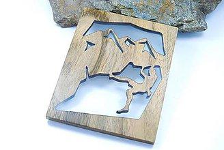 Obrázky - Horolezec- Drevený živicový obrázok/podpivník - 11432930_