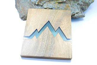 Dekorácie - Logo hôr- Drevený živicový obrázok/podšálka - 11433047_