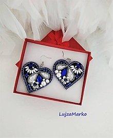 Náušnice - Modrotlač v srdci náušnice - 11432566_