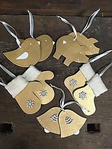 Dekorácie - Sada vianočných ozdôb - zlatá - 11435796_