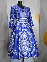 """Šaty - FLORAL FOLK """" Slovenská ornamentika """", spoločenské šaty v dĺžke midi - 11434585_"""