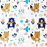 modrí mackovia, 100 % bavlna Poľsko, šírka 160 cm