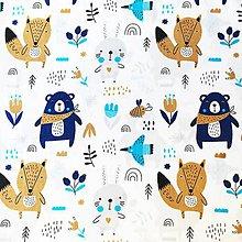 Textil - modrí mackovia, 100 % bavlna Poľsko, šírka 160 cm - 11434420_
