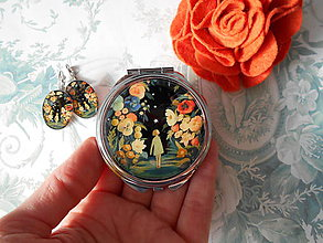Zrkadielka - V tajomnej záhrade (zrkadielko + náušničky) - 11435875_