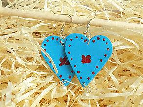 Náušnice - Folkové modré maľované náušnice - 11435016_