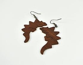 Náušnice - Náušniše drevený dinoraurus - mahagón - 11434807_