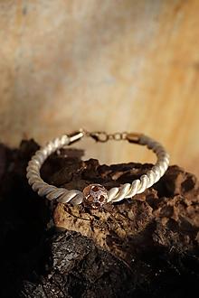 Náramky - Béžovo - zlatý náramok točený - 11435842_