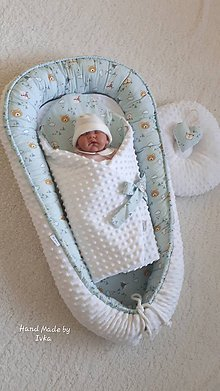 Textil - Hniezdo pre bábätko -  biele minky / medvedík v  azúrovom - 11436445_