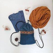 Batohy - Recyklovaný batoh riflový folk - 11437004_
