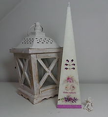 Svietidlá a sviečky - Narodeninová dekoračná sviečka ihlan veľký 30 cm - 11436469_