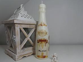 Svietidlá a sviečky - Svadobné šampanské sviečka 25 cm - 11436762_