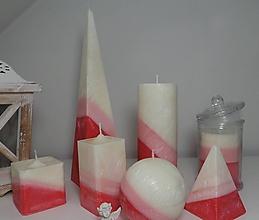 Svietidlá a sviečky - Palmové sviečky červeno-biela kombinácia. - 11436996_