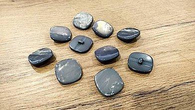 Galantéria - Plastový gombík - 25 mm - šedá perleť - 11438943_