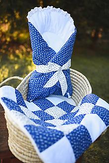 Textil - Prešívaná ľudová perinka (Modrá) - 11438392_