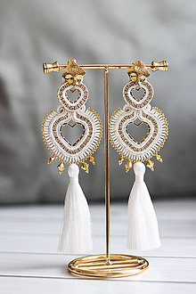 Náušnice - Bielo-zlaté Srdcia - 11438840_
