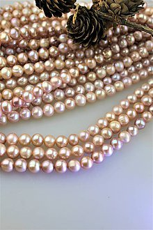 "Minerály - perly 8-9mm korálky - prírodná perla ""levander"" - 11438764_"