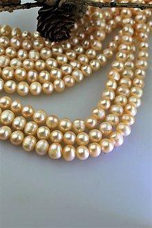 "Minerály - perly 8-9mm korálky - prírodná perla ""marhuľová"" - 11439345_"