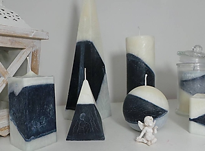 Svietidlá a sviečky - Palmové sviečky čierno-biela kombinácia. - 11438382_