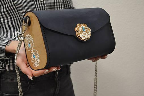 Drevená folk kabelka kožená Julka Odzuzičky (Modrá veľká)