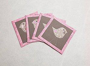 Úžitkový textil - Podložky  s vtáčikom  ružové - 11442023_