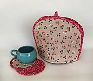 Úžitkový textil - Sada čiapka na čajník + podšálky - 11441022_
