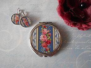 Zrkadielka - Z babičkinej šatky II. (zrkadielko + náušničky) - 11441757_