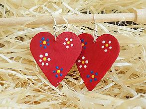 Náušnice - Červené maľované folk náušnice - 11440255_