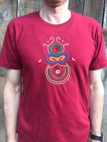 Tričká - Pánske vyšívané tričko bordové - 11440473_