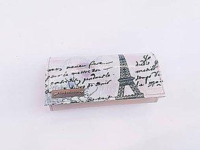 Peňaženky - Priehradková peňaženka béžová ekokoža + Paríž - 11444220_